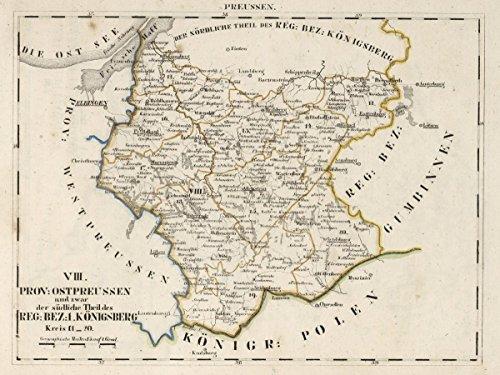 1825 National Atlas | V.2:6-10:X. Preussen. VIII. Prov: Ostpreussen ... Reg: Bez: 1. Konigsberg. Kreis 11-20 | Antique Vintage Map Reprint