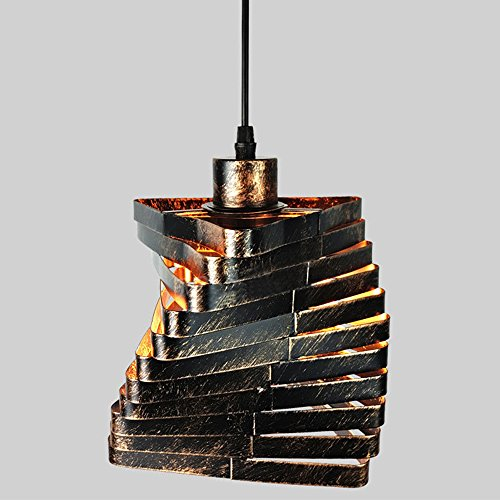 Wrought Iron Bronze Hanging Chandelier - Industrial Steampunk Spiral Chandelier, Motent Retro Black Iron Bar Hanging LIght Creative Diamond Ceiling Lamp Shade for Kitchen Library Office - 6.2 inches Dia