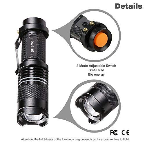 Flashlights,Hausbell 7W Ultra Bright Mini LED Flashlight-High Lumen,Adjustable Focus,5 Light Modes,Water Resistant for Camping,Outdoor and Hiking(2 Pack)