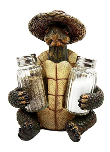 Ebros Slow Seasons Outdoors Camping Turtle With Wicker Hat Salt And Pepper Shakers Holder Figurine 7