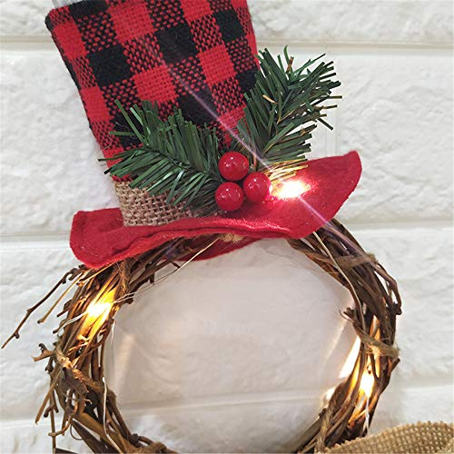 BiuBuy Lighted Christmas Wreath Decoration Battery Powered LED Wreath for Front Door Home Wall Decor and Party Décor (A)
