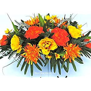 Fall Cemetery Headstone Flowers with Peonies, Mums, Yellow Roses, and Ferns with Mixed Greenery 10