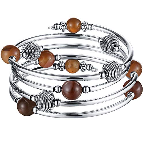 Pearl&Club Beaded Chakra Bangle Turquoise Bracelet - Fashion Jewelry Wrap Bracelet with Thick Silver Metal and Mala Beads, Birthday Gifts for Women (63-Agate Brown) ()