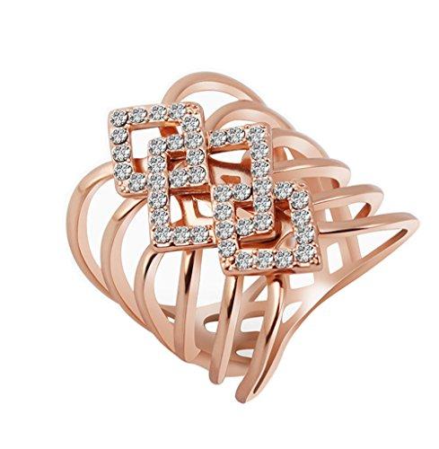 Yfnfxl Women's Rose Gold Crystal Rhinestone Engagement Anniversary Wedding Fashion Rings for Party (rose gold 2, (Rhinestone Rose Ring)