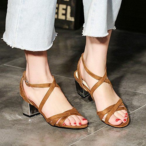lovely COOLCEPT Femmes Mode Criss Cross Strappy Sandales Orteil ouvert Slingback Bloc Chaussures