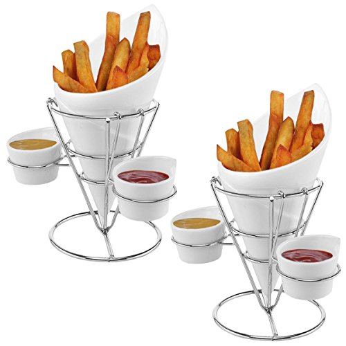 Gibson (2 Pack) Ceramic French Fry Holder & Ketchup Cups Set, Fries Cone Basket Stand & Sauce Serving