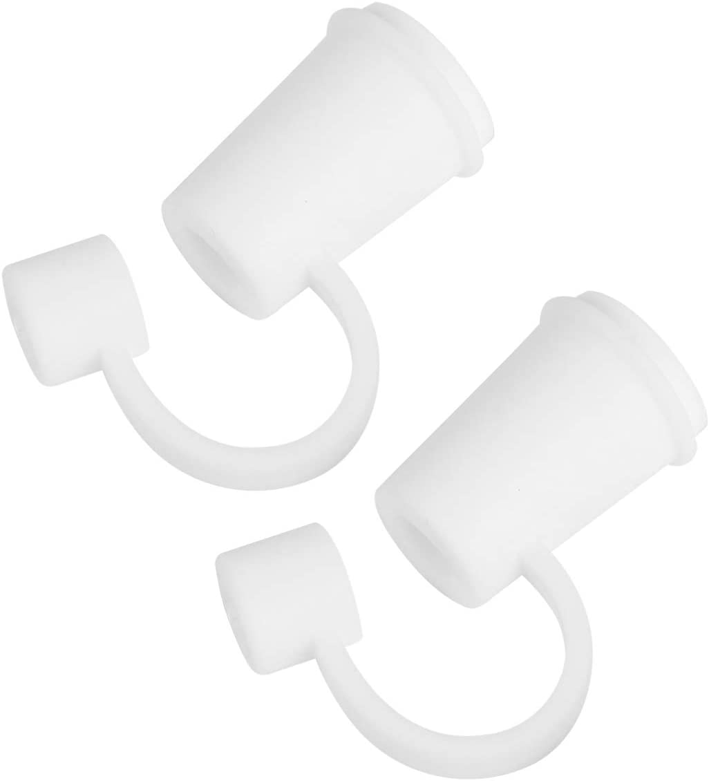 BESTOYARD 2pcs Silicone Straws Tips Covers White Cup Shaped Straw Plug for Reusable Telescopic Straw Drinking Beverages Accessories