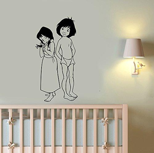 Mowgli and Shanti Wall Decal Vinyl Sticker The Jungle Book Art Decorations for Home Kids Boys Room Bedroom Playroom Cartoon Decor mg2