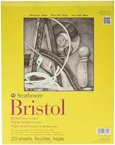 Strathmore 300 Series Bristol Pad - 11-Inchx14-Inch - 20 Sheet - Pad Bristol Smooth