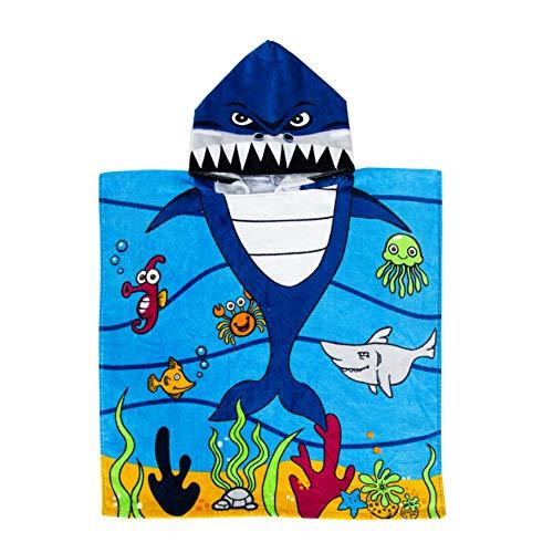 Exclusivo Mezcla 100% Cotton Kids Baby Shark Hooded Poncho Bath/Beach/Pool Towel, 24