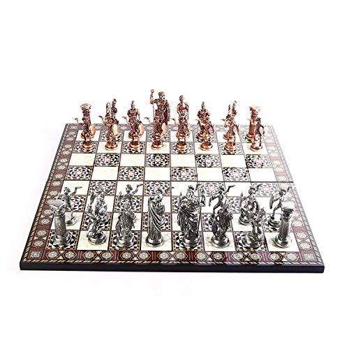 GiftHome Historical – Juego de ajedrez de metal de cobre antiguo para adultos, piezas hechas a mano y diseño de mosaico…