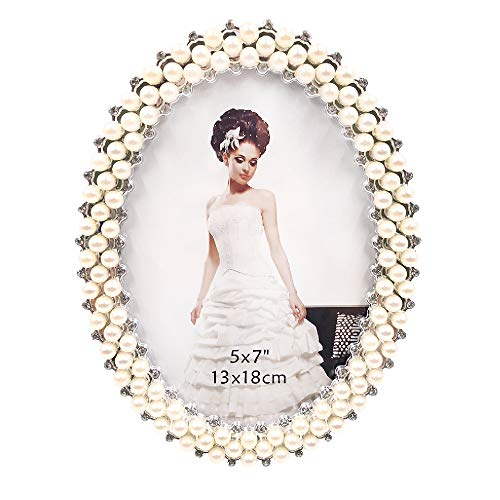 7inch Crystal Pearl Oval Wedding Photo Frame Metal Alloy: Abbie Home Wedding Photo Frame