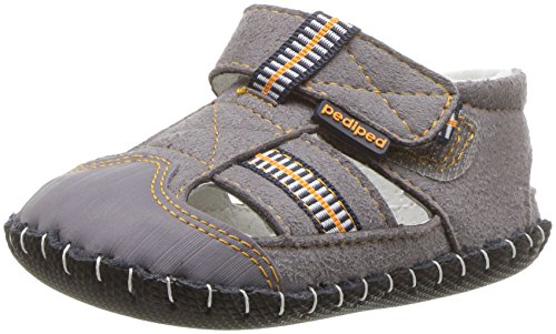pediped baby-Boys' Gustan Crib Shoe, Grey/Orange, 12-18 MONTHS Regular EU Infant (12-18 MONTHS US)