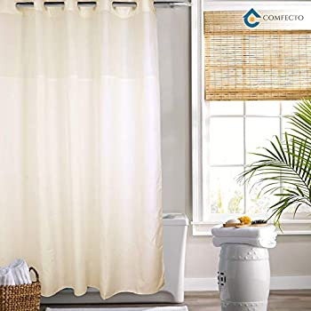 Hookless Shower Curtain By COMFECTO Mold And Mildew Resistant 70x74 Inch Cream Polyester Bathroom Curtains With Light Filtering Mesh Screen Magnet