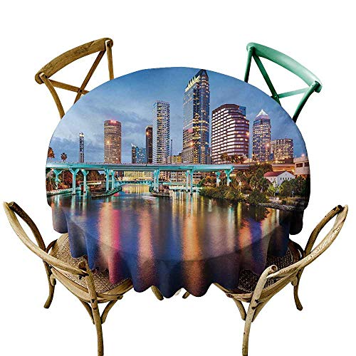Mkedci Stain-Resistant Tablecloth City Hillsborough River Tampa Florida USA Downtown Idyllic Evening at Business District for Kitchen Dinning Tabletop Decoration D47 Multicolor -