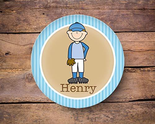 e Any Skintone Or Hair Color Boy Name Plate Baseball Dinnerware Baseball Gift ()
