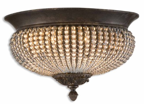 Golden Bronze 2 Light Flushmount Ceiling Fixture From The Cristal De Lisbon Collection - Cristal Collection Lisbon De