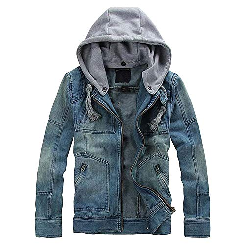 Mens Jeans Coat,Realdo Clearance Solid Casual Detachable Hoodie Long Sleeve Jacket Top Blouse(XX-Large,Blue)