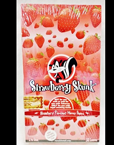 Full Box Skunk Brand 1 1/4 Strawberry Flavored Hemp Rolling Papers 32 Per Pack (Skunk Rolling Papers)