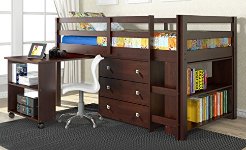 Twin Low Study Loft Bed with Desk in Dark Cappuccino 721812