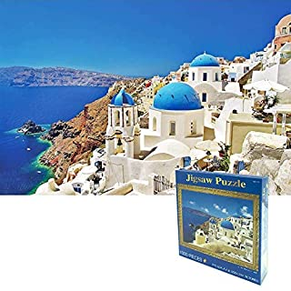 OZMI Jigsaw Puzzles 1000 Pieces for Adults and Kids, Santorini Church Adult Jigsaw Puzzles, Landscape Bay Castle Jigsaw Puzzles 1000 Pieces, Puzzles for Kids 70 x 50cm (27.56 x 19.69inch)