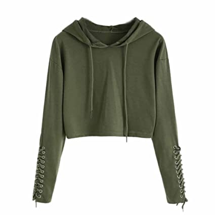 a83927d10277ee Tanhangguan Women Hoodie Sweatshirt Crop Top Ladies Long Sleeve Shirt  Jumper Tops Blouse for Women Teens