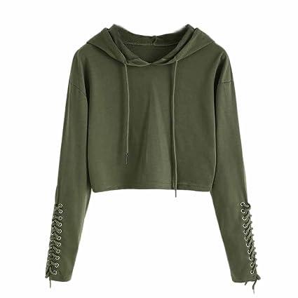 b58f7c0de15 Tanhangguan Women Hoodie Sweatshirt Crop Top Ladies Long Sleeve Shirt  Jumper Tops Blouse for Women Teens