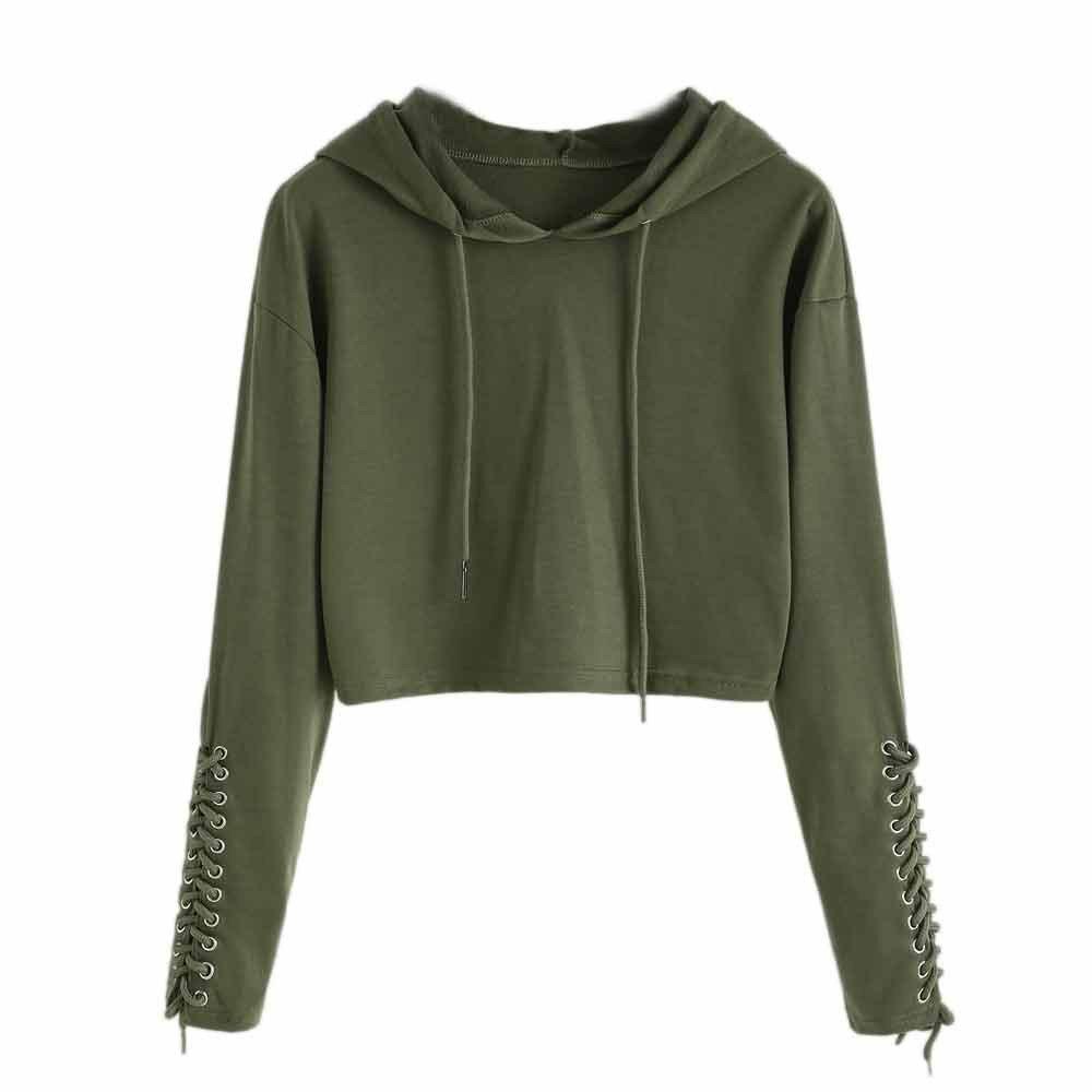 Anxinke Women Girls Trendy Strappy Sleeve Cropped Hoodies Top