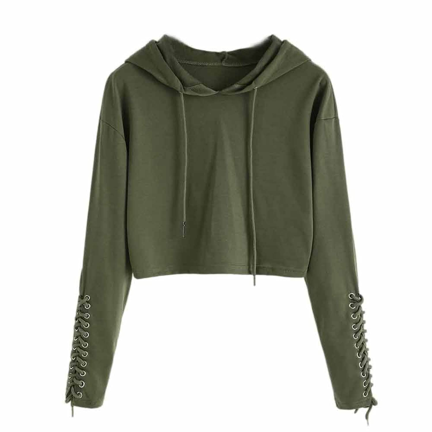 Birdfly Womens Lace-Up Hooded Sweatshirt Girls Casual Long Sleeve Crop Top Hoodies Pullover