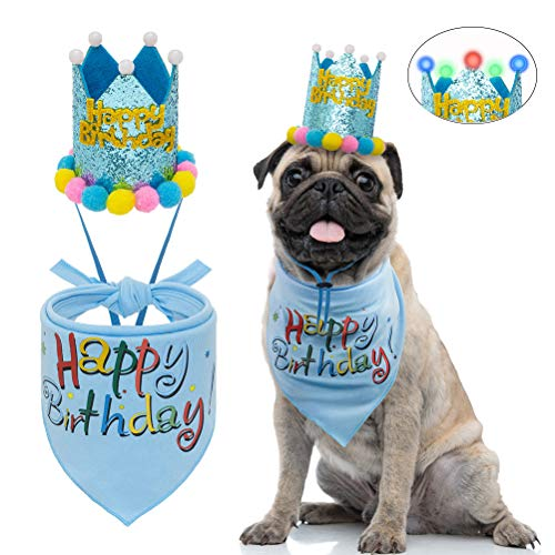 Dog Birthday Bandana with LED Hat – Pet Birthday Party Supplies – Cute Crown and Triangle Scarf for Small to Medium Dogs
