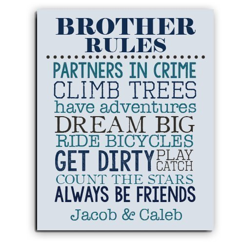 Amazon.com: Brother Rules Paper Art Print | Brother Wall Art ...