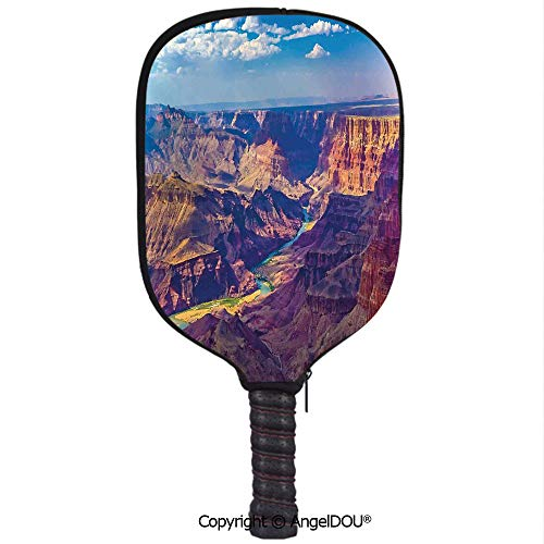 (AngelDOU House Decor Waterproof Zipper Single Pickleball Paddle Racket Cover Case Aerial View of Epic Grand Canyon Activity of River Stream Over Rock Plateau Print for for Most Rackets.Blue Tan)