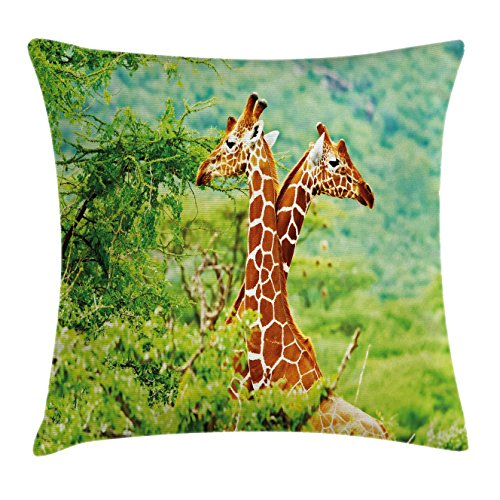 Ambesonne Africa Throw Pillow Cushion Cover, Giraffes with Their Neck in the Tropical Savannah Habitat Nature Idyllic Photo, Decorative Square Accent Pillow Case, 18 X 18 Inches, Green Orange