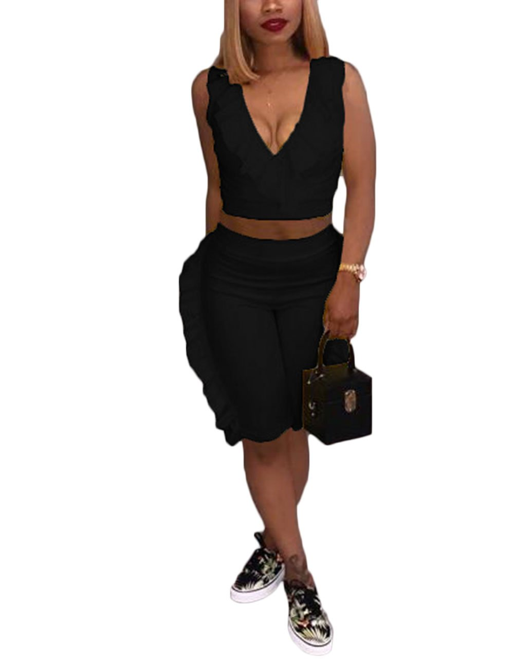 Women's Ruffle Two Pieces Outfits Sleeveless V Neck Crop Tops and Shorts Pants Set Tracksuit Black 2XL by Akmipoem (Image #1)