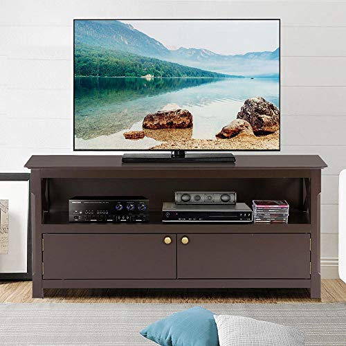 go2buy X-Shape Wood TV Stand Media Console Cabinet Home Entertainment Center Table for Flat Screen TVs, ()