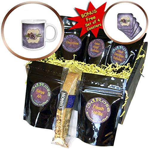 3dRose Beverly Turner Flora Design - Image of Wooden Heart, Ribbon, Purple and Yellow Flowers on Tag - Coffee Gift Baskets - Coffee Gift Basket (cgb_304971_1)