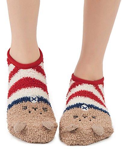 Ballet Striped Slippers (Leotruny Women's Animal Winter Cute Cozy Warm Fuzzy Slipper Socks (C04-Cat))