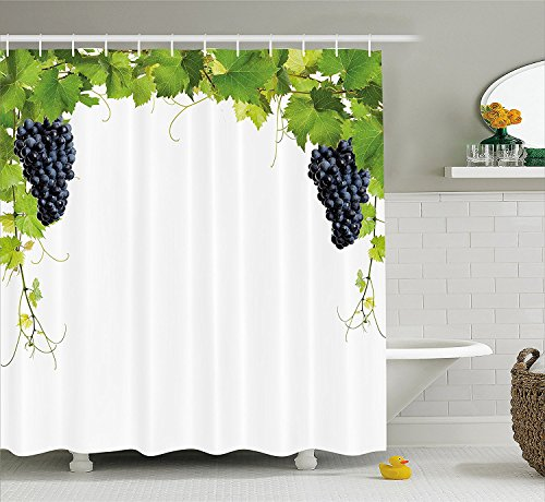 [Grapes Home Decor Shower Curtain Wine Leaf with Loose Bunch of Large Berries Tannin Breed French Village Fabric Bathroom Decor Set with Hooks Green] (Grape Vine Halloween Costume)