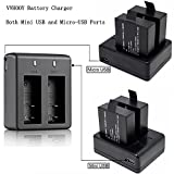 VVHOOY 3 x 1050mAh Rechargeable Action Camera Battery with USB Dual Charger for 4k Action Camera Dual Screen