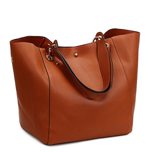 Women Extra Large Carry All Totes Diaper Bags Shoulder Handbags Convertible Shape Bag (Large Brown Bag)