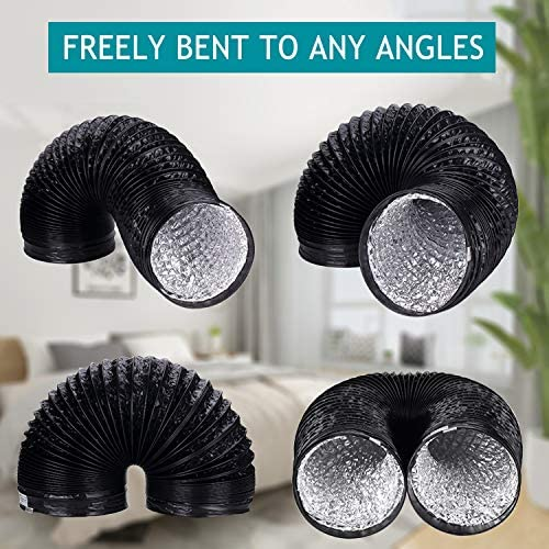 Fan Ducting, HG POWER Aluminium Flexible Ventilation Ducting ø150mm, PVC Round Air Ducting for Bathroom, Kitchen, Toilet, Hydroponics Extractor Fan Duct Pipe (ø6