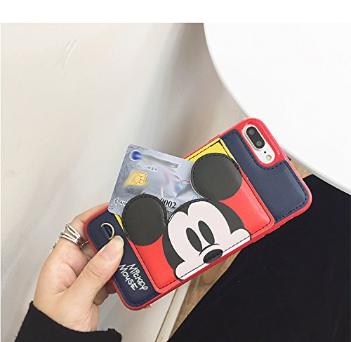 Pink Red Mickey Mouse Soft Silicone Leather Case with Card Holder Stand for iPhone 7 Plus / 8 Plus 7+ 8+ 7Plus 8Plus Large Size Disney Cartoon Protective Cute Lovely Gift Kids Girls Little Girls