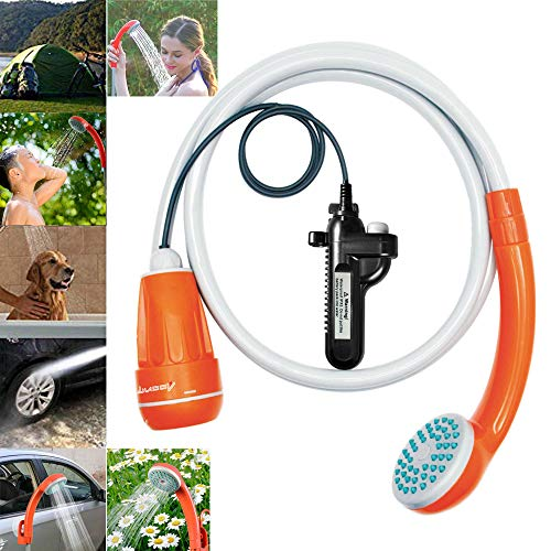 LUOOV Portable Camping Shower, Shower Pump with Detachable USB Rechargeable Battery, Handheld Outdoor Shower Head for Camping,Hiking,Traveling Use Portable Shower (Classic Separate -