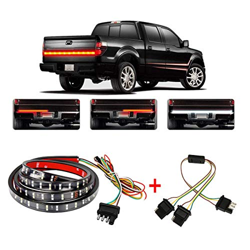 "Wigbow 60"" 2-Row LED Truck Tailgate Light Bar Strip- [Brake, Turn Signal, Running, Reverse Backup] - Waterproof 5 FUNCTION Tail Lights with 4 Way Flat Y-Splitter and Clean Cloth for Pickup SUV Jeeps"