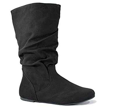 classic shoes good out x premium selection SODA Image Women's Comfortable Flat Mid Calf Boot Shoes