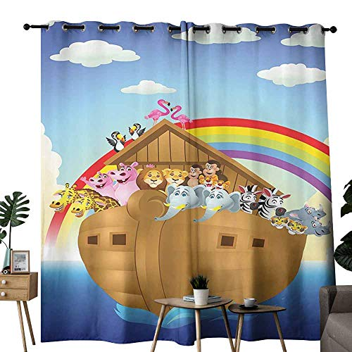Noahs Ark Decor Collection Exclusive home curtains llustration of Cute Animals in Noahs Ark Sailing in Sea Ship Old Story Sunset Rainbows Energy saving provides a modern look W84