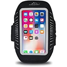 """Armpocket Racer Plus Ultra Thin Phone Armband, Black, Medium Strap - Fits iPhone 8 Plus/7 Plus/6 Plus, Galaxy S8+, Note 5, or phones up to 6.5"""""""