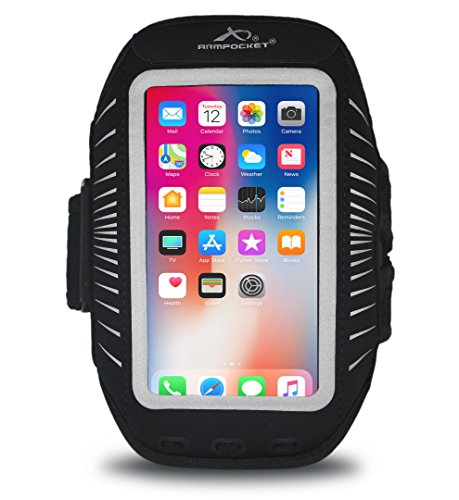 Arm Pocket (Armpocket Racer Plus Ultra Thin Phone Armband, Black, Medium Strap - Fits iPhone 8 Plus/7 Plus/6 Plus, Galaxy S8+, Note 5, or phones up to 6.5