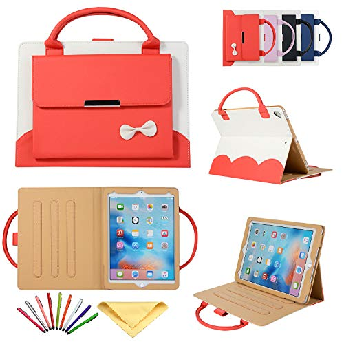 Uliking Handbag Case for Apple iPad Pro 10.5 Inch 2017 (A1701/A1709), Uliking Stand Slim Lightweight PU Leather Shockproof Cute Bowknot Folio Cover with Handle Document Pocket Hand Strap Pencil, Red -