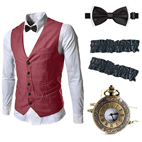 EFORLED Mens 1920s Accessories Gangster Vest Set - Pocket Watch,Armbands,Pre Tied Bow Tie,Burgundy,S1